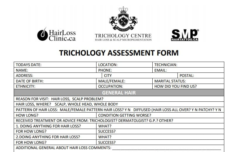 Trichology Assessment Form